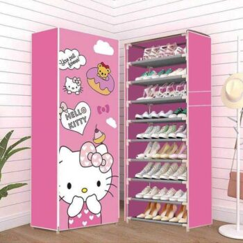 Multi-layer simple shoe shelf shoe cabinet dustproof belt cloth cover storage rack can be freely disassembled shoe cabinet student dormitory steel pipe 10 layers 9 grid