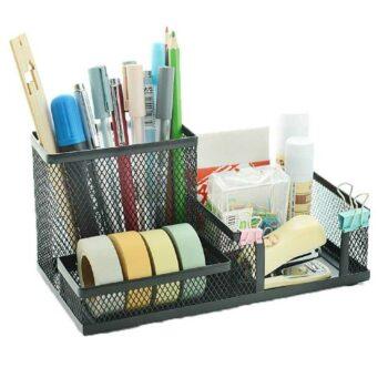 3 Compartments Metal Mesh Multi-Purpose Desktop Organizer Pen Stand Black