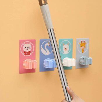 Magic Sticker Plastic Self Adhesive Multifunction Wall Mounted Mop Broom Holder