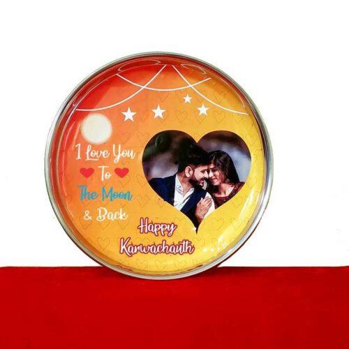 Customized Karva Chauth Thali Set Vinyl Sticker Printed 4