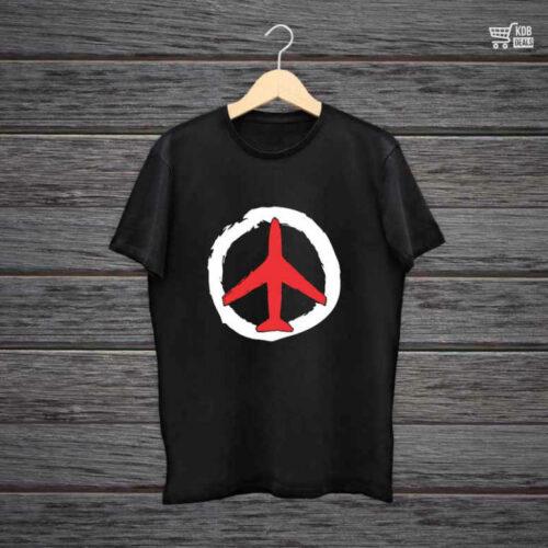 DB Printed Black Cotton T shirt Travel Peace.jpg
