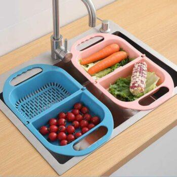 Foldable Kitchen Plate Utensil Water Drainer Rinsing Drying Rack Basket Organizer Tray