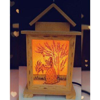 Jaipuri Lamp Beautiful Hanging / Table Lamp, Imported Wood (7 inch)
