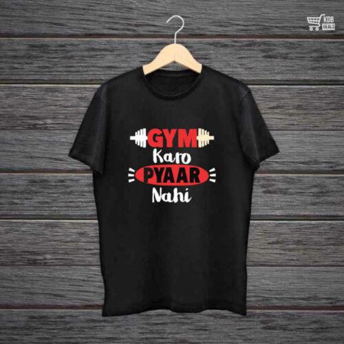 KDB Printed Black Cotton T shirt Gym Karo Pyaar Nahi Gabru.jpg