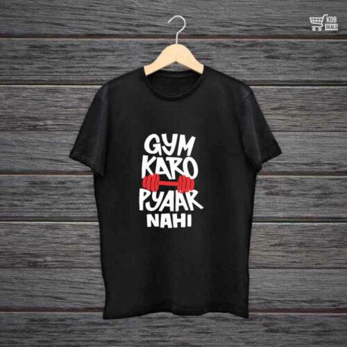KDB Printed Black Cotton T shirt Gym Karo Pyaar Nahi.jpg