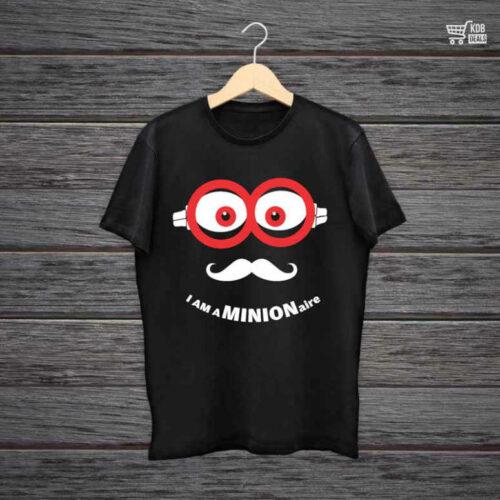 KDB Printed Black Cotton T shirt I am a Minion.jpg