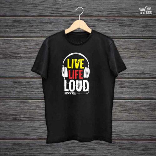 KDB Printed Black Cotton T shirt Live Life Loud Rock N Roll.jpg