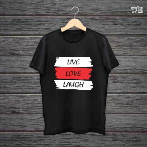 KDB Printed Black Cotton T shirt Live Love Laugh Funny.jpg