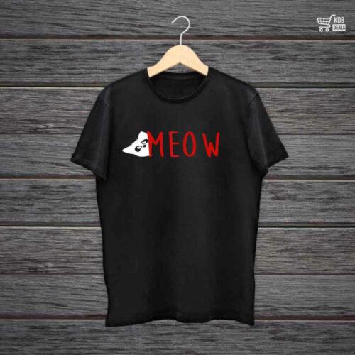 KDB Printed Black Cotton T shirt Meow Cat.jpg