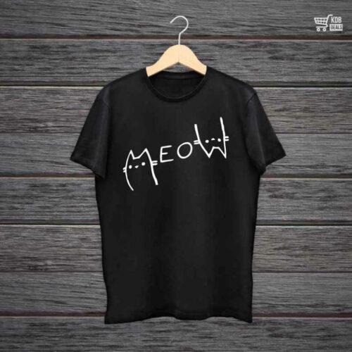 KDB Printed Black Cotton T shirt Meow.jpg