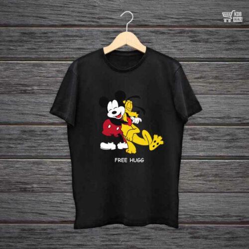 KDB Printed Black Cotton T shirt Micky Free Hugg.jpg