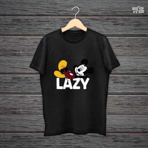 KDB Printed Black Cotton T shirt Micky Lazy.jpg