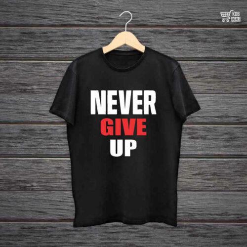 KDB Printed Black Cotton T shirt Never Give Up.jpg