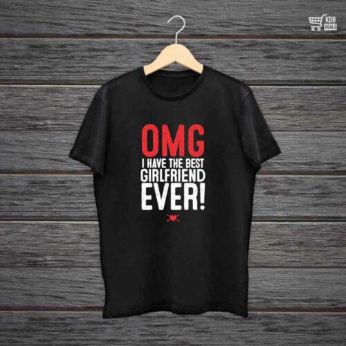 KDB Printed Black Cotton T shirt OMG I Have The Best Girlfriend.jpg