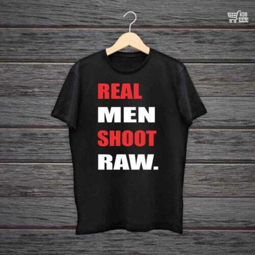 KDB Printed Black Cotton T shirt Real Men Shoot Raw.jpg