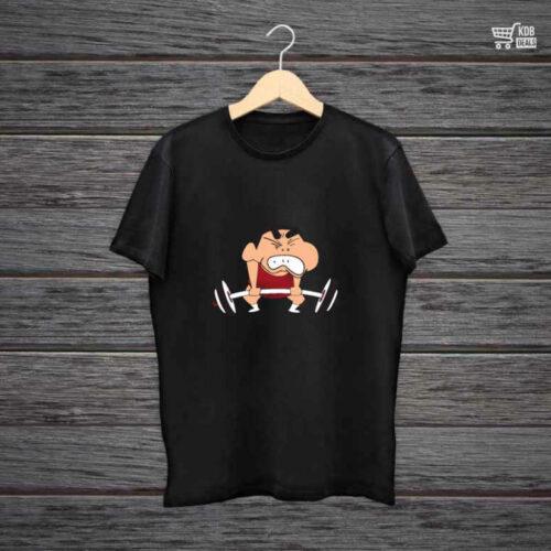 KDB Printed Black Cotton T shirt Shin Chan Gym.jpg