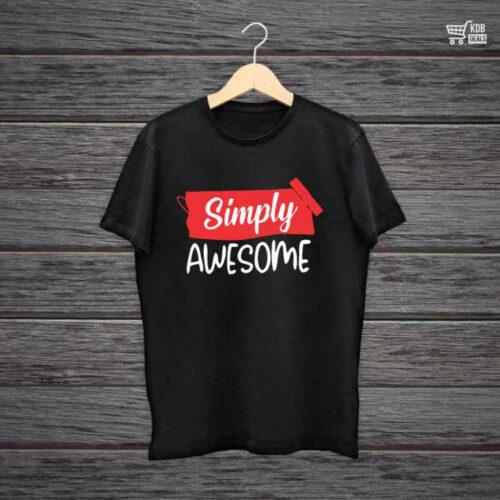 KDB Printed Black Cotton T shirt Simply Awesome.jpg