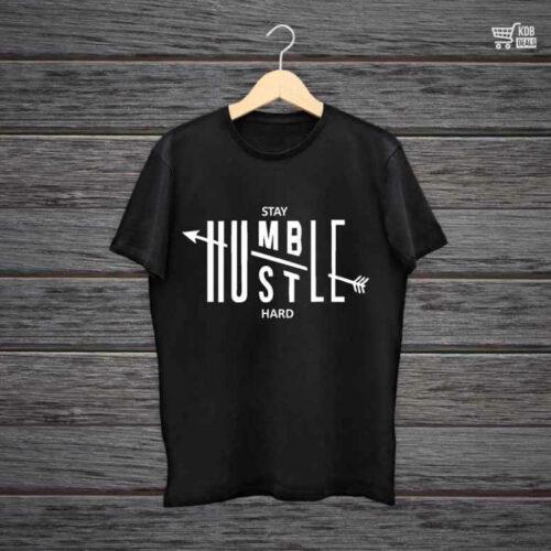 KDB Printed Black Cotton T shirt Stay Humble.jpg