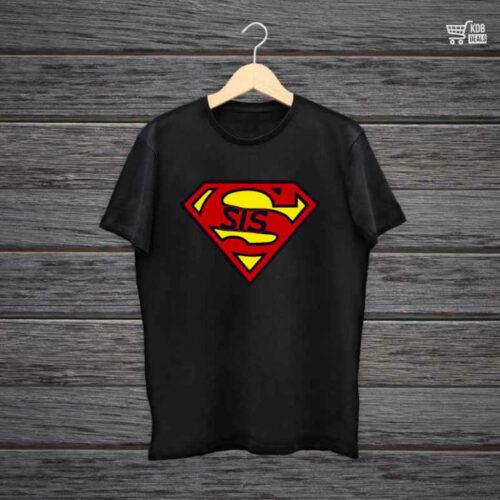 KDB Printed Black Cotton T shirt Superman Sis.jpg