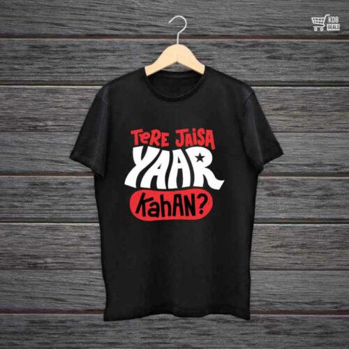 KDB Printed Black Cotton T shirt Tere Jaisa Yaar Kahan.jpg