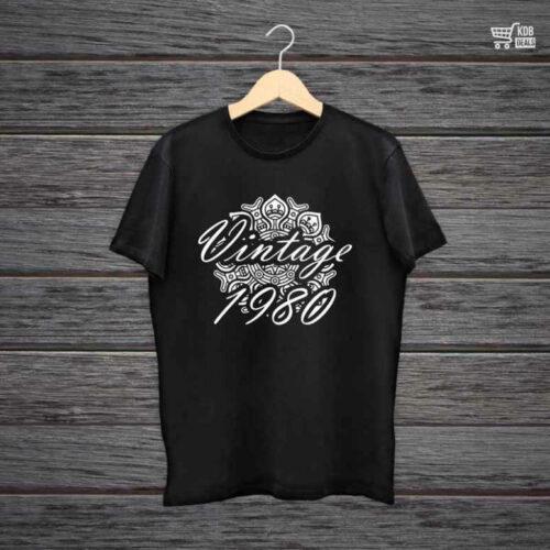 KDB Printed Black Cotton T shirt Vintage 1980.jpg