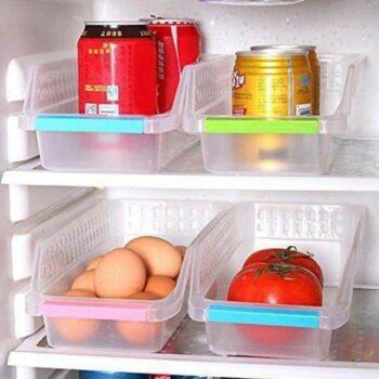 Long Plastic Fridge Tray Space Saver Fridge Organizer Bins | Stackable Refrigerator Food Storage Organizer, Food Grade Plastic (Pack of 4) White Color