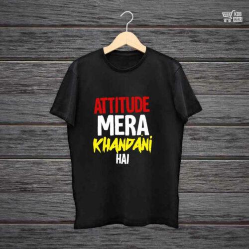 Man Printed Black Cotton T shirt Attitude Mera.jpg