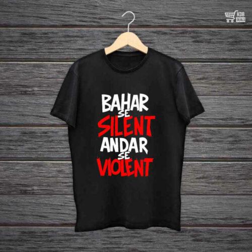 Man Printed Black Cotton T shirt Bahar Se Silent.jpg