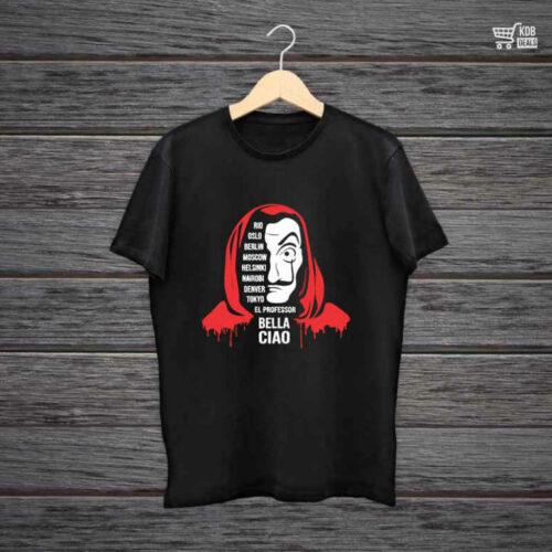 Man Printed Black Cotton T shirt Bella Ciao.jpg