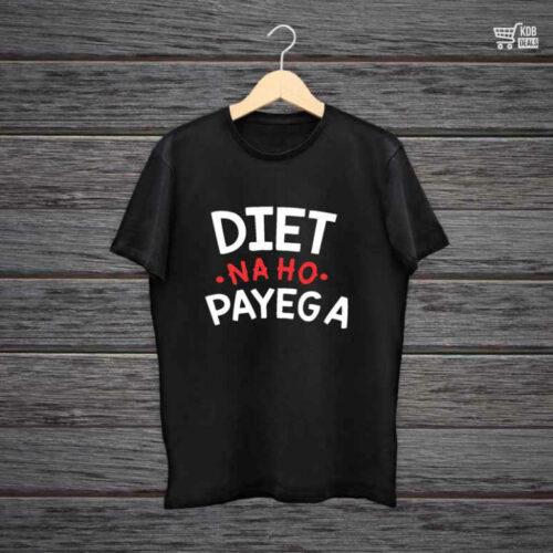 Man Printed Black Cotton T shirt Diet Na Ho Payega.jpg