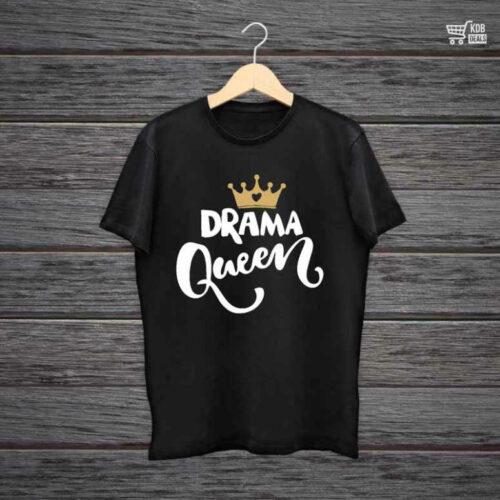 Man Printed Black Cotton T shirt Drama Queen.jpg