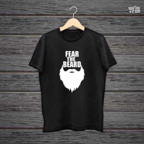 Man Printed Black Cotton T shirt Fear The Beard.jpg