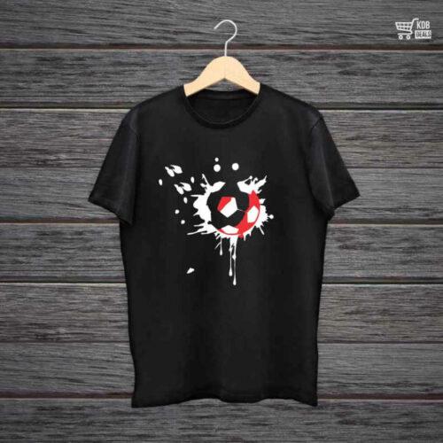 Man Printed Black Cotton T shirt Football.jpg