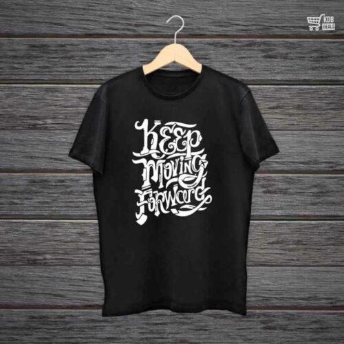 Man Printed Black Cotton T shirt Keep Moving Forward.jpg
