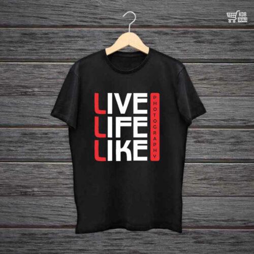 Man Printed Black Cotton T shirt Live Life Like.jpg