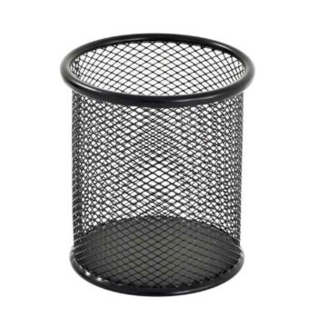 Mesh Pen Stand/Pen Holder Round Shape Pencil Container (Pack of 1) Multipurpose Metal Hollow Out Desktop Storage Organizer for Student Stationery Office Supplies(Black)