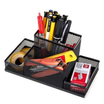 Metal Mesh 4 Compartment Multipurpose Desktop Stationary Organizer Stand with Good Grip for Home and Office