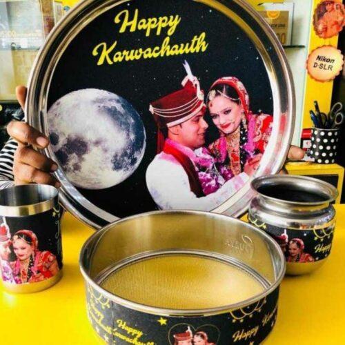 Personalized KarvaChauth Thali Set of 4, Thali Lota Glass Channi