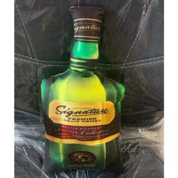 Signature Whisky Cushion Whisky Bottle Shaped Cushion High Quality Velvet Print (22 x 12)