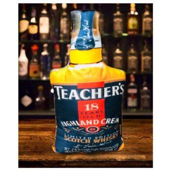 Teacher's 18 Year Old Cushion Whisky Bottle Shaped Cushion High Quality Velvet Print (22 x 12)