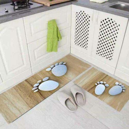 3D Footprint Printed Carpet Rug in Kitchen Home Living Office Restaurant Entrance Area Anti Slip Runner Floor Mat