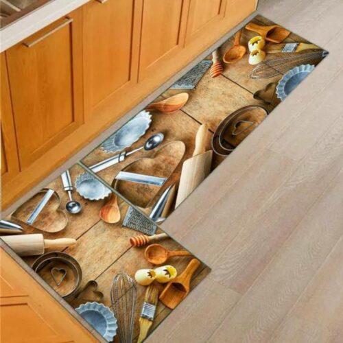 3D Kitchen Tools Printed Carpet Rug in Kitchen Home Living Office Restaurant Entrance Area Anti Slip Runner Floor Mat