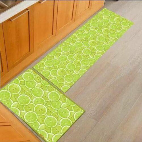3D Lemon Printed Carpet Rug in Kitchen Home Living Office Restaurant Entrance Area Anti Slip Runner Floor Mat