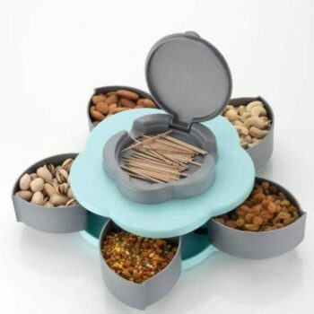 5 Compartments Creative Flower Candy Box Serving Rotating Tray Dry Fruit, Candy, Chocolate, Snacks Storage Box, Masala Box for Home Kitchen