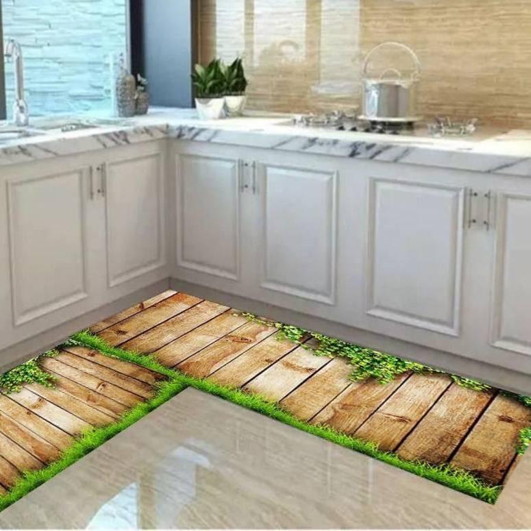 Anti Skid Washable Digital Printed Luxury Kitchen Floor Mat & Runner, Combo Set of 2 Pcs