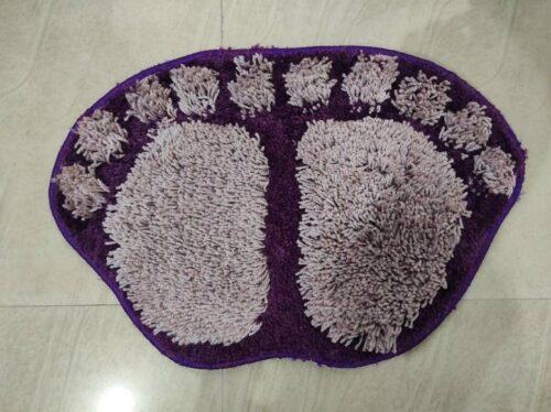 Antiskid Stylish Foot Shaped Door Mats Bathmat (40x60 cm) - 4 Attractive Colors Purple