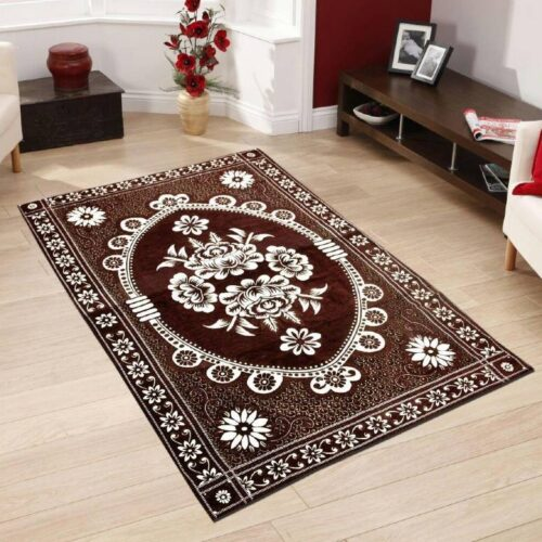 Beautifully Crafted Carpets - Kashmiri Chenille Carpets (5x7 Feet) with Perfect Finishing Brown