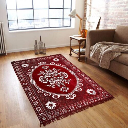 Beautifully Crafted Carpets - Kashmiri Chenille Carpets (5x7 Feet) with Perfect Finishing Maroon