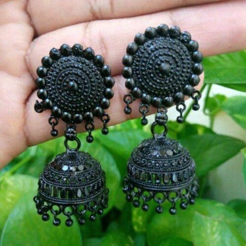 Black Oxidised Jhumki Earring