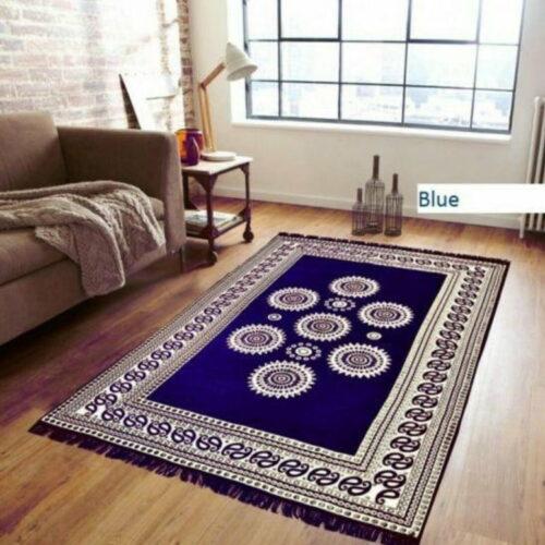Chenille Pannel Durable Heavy Quality Carpet - (5x7 Feet) Blue